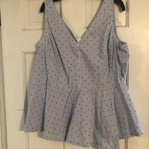 Lane Bryant Peplum Polka Dot Shirt Size 22